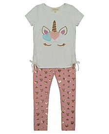 Toddler Girl Short Sleeve Top with Plush Embroidery Unicorn with Foil Heart Print Legging Set