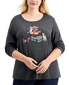 Plus Size Holiday Cat Top, Created for Macy's