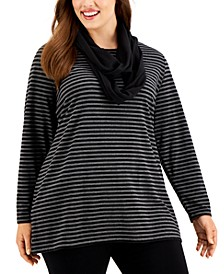 Plus Size Striped Top With Scarf, Created for Macy's
