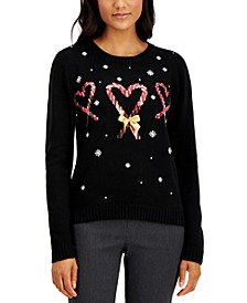 Sequined Candy Cane Heart Sweater, Created for Macy's
