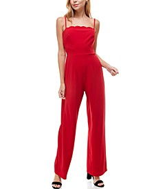 Juniors' Scalloped-Neck Jumpsuit