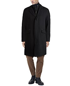 Men's Layered Look Classic-Fit Twill Topcoat with Faux-Leather Trim