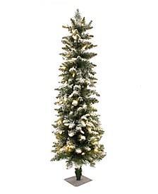 3.5' Prelit Frosted Pencil Christmas Tree with 100 LED Lights