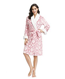 "Women's Plush Robe with Sherpa Collar and Cuff 42"" HPS"