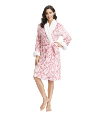 """Ink+Ivy Women's Plush Robe with Sherpa Collar and Cuff 42"""" Hps"""