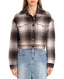 Plaid Western-Style Cropped Jacket