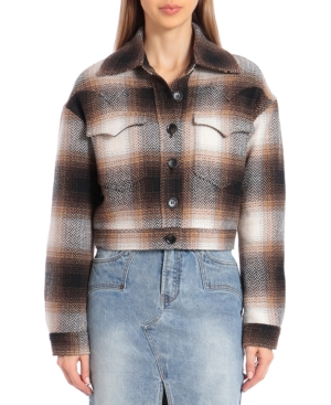 1930s Style Coats, Jackets | Art Deco Outerwear Avec Les Filles Plaid Western-Style Cropped Jacket $159.00 AT vintagedancer.com