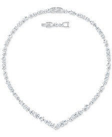 "Silver-Tone Multi-Crystal Choker Necklace, 14-7/8"" + 3/4"" extender"