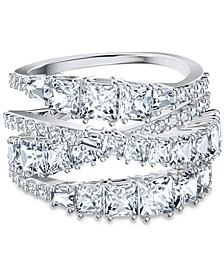 Silver-Tone Crystal Intertwined Wrap Ring