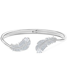 Silver-Tone Crystal Feather Bypass Bangle Bracelet