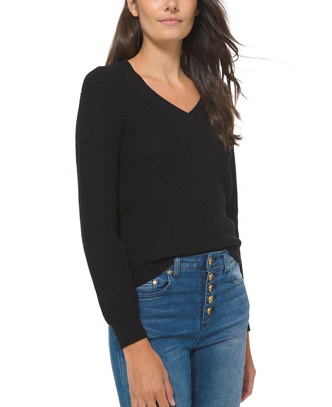Michael Kors Textured V-Neck Sweater