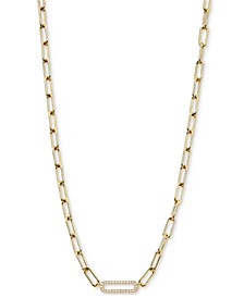 "Cubic Zirconia Oval Link Collar Necklace, 16"" + 2"" extender"