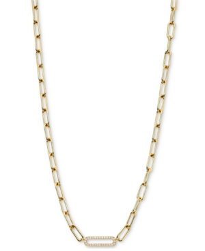 Cubic Zirconia Oval Link Chain Collar Necklace