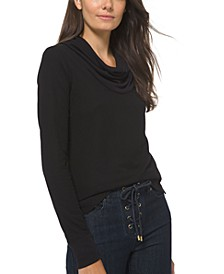 Cowlneck Waffle-Knit Top, Regular & Petite Sizes