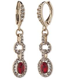 Stone & Crystal Halo Dangle Drop Earrings