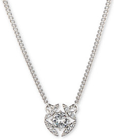 "Givenchy Stone & Crystal Pendant Necklace, 16"" + 3"" extender"