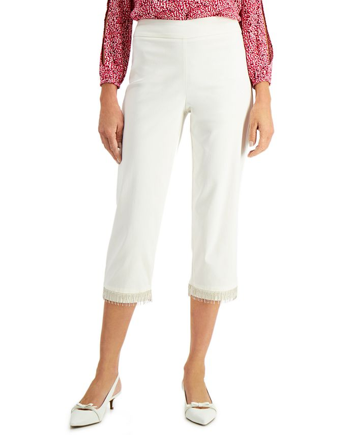JM Collection - Diamonte Fringed Pull-On Capri Pants
