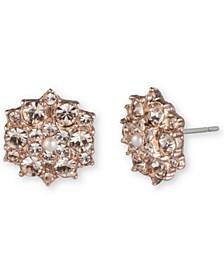 Rose Gold-Tone Imitation Pearl & Crystal Cluster Stud Earrings