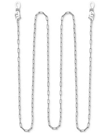 "Rectangle Link 25"" Glasses or Face Mask Chain in Fine Silver or Gold Plate"