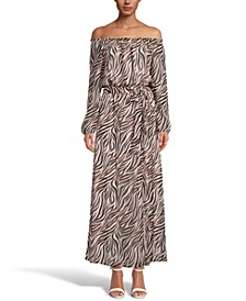INC Zebra-Print Off-The-Shoulder Maxi Dress, Created for Macy's