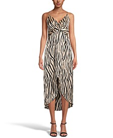 Printed Hammered Satin Twist-Front Midi Dress, Created for Macy's