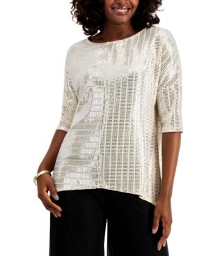 Women's 70s Shirts, Blouses, Hippie Tops Jm Collection Metallic Dolman-Sleeve Top Created for Macys $21.80 AT vintagedancer.com