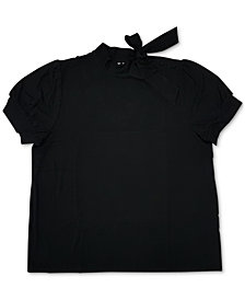 Charter Club Short-Sleeve Bow-Neck Blouse, Created For Macy's