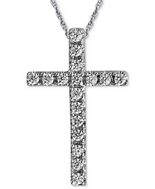 "Diamond Cross 18"" Pendant Necklace (1/10 ct. t.w.) in 10k White Gold"