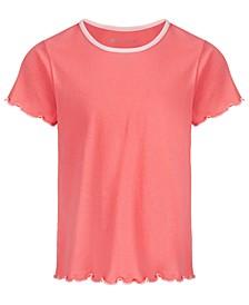 Big Girls Scalloped-Hem Cotton T-Shirt, Created for Macy's