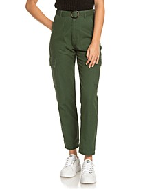 Juniors' Sense Yourself Cotton Belted Utility Pants