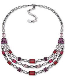 """Hematite-Tone Pavé & Stone Multi-Row Collar Necklace, 16"""" + 3"""" extender"""