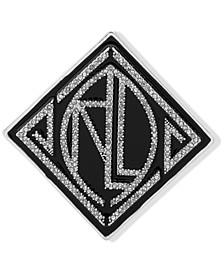 Silver-Tone Pavé Decorative Logo Pin