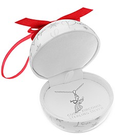 "Cubic Zirconia 18"" Christmas Pendant Necklace in Sterling Silver in Ornament Box, Created for Macy's"