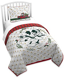 CLOSEOUT! Mickey and Minnie Mouse 2-Pc. Twin Quilt Set