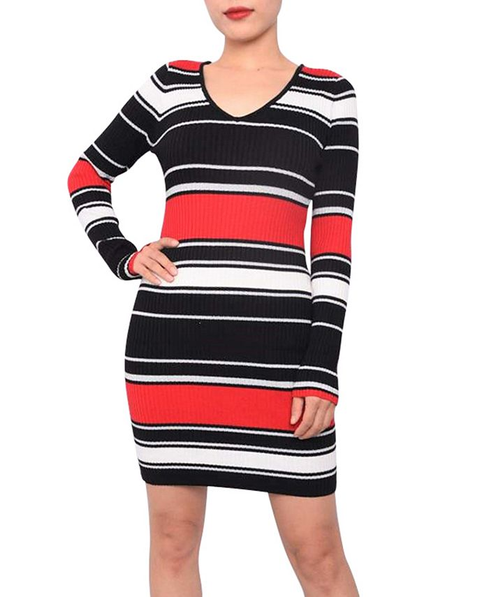 Planet Gold - Juniors' Striped Bodycon Sweater Dress