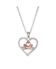 Two-Tone Princess Cubic Zirconia Crown Heart Pendant Necklace in Fine Silver Plate