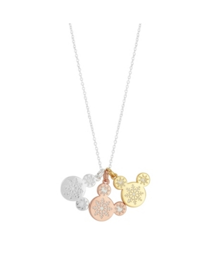 Mickey Tri-Tone Mouse Snowflake Charms Pendant Necklace in Fine Silver Plate