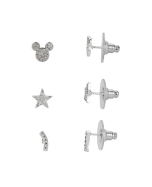 Silver-Tone Cubic Zirconia Mickey Mouse Earring Set