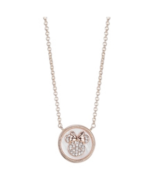 Silver Rose Gold Flash Tone Minnie Mouse Mother-of-Pearl Pendant Necklace in Fine Silver Plate