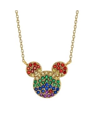 Gold-Tone Rainbow Crystal Mickey Mouse Pendant Necklace in Fine Silver Plate