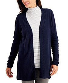 Plus Size Luxsoft Ribbed-Trim Open-Front Cardigan Sweater, Created for Macy's