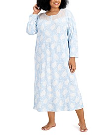 Plus Size Cotton Brushed Knit Nightgown, Created for Macy's