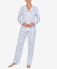로렌 랄프로렌 잠옷 파자마 세트 Lauren Ralph Lauren Floral-Print Knit Pajamas Set,Ivory Floral