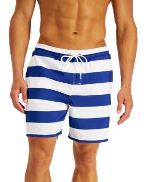 Vintage Men's Swimsuits – 1930s, 1940s, 1950s History Club Room Mens Cabana Stripe Swim Trunks Created for Macys $32.99 AT vintagedancer.com