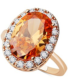 Gold-Tone Oval Crystal Halo Ring, Created for Macy's