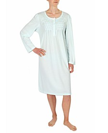 Embroidered Smocked Knit Nightgown