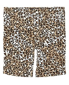 Little Girls All Over Leopard Print Mix and Match Knit Bermuda Short