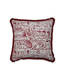 "Holiday Poinsetta Throw Pillow, 18"" L x 18"" W"