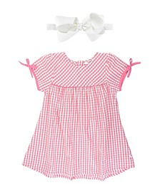 Baby Girl Rose Gingham Button Back Dress and Bow Headband Set