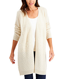 Karen Scott Mixed-Stitch Cardigan, Created for Macy's